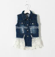 2015 New Baby Girls Jean Patchwork Lace Vest, Children Cowboy Hollow Out Tulle Outwear 5 pcs/lot,Wholesale