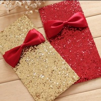(2pcs) Creative Chinese New Year red envelopes with Sequined bow the Spring Festival supplies free shipping