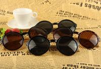 Factory Wholesale High Quality Japan Handmade Bamboo sunglasses Rivet round sun glasses frames Black sun shades UV400 UNISEX