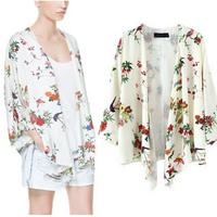 Fashion Women Floral Butterfly Print Blouse Kimono Cardigan Summer Batwing Sleeve Chiffon Blouse  yw15014