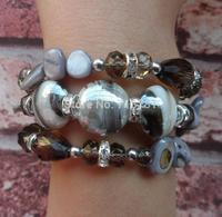1piece/bag rhinestone stone lady,women bracelet party,wedding bracelet gray charm chunky bracelet Bangles for Women Ladies Gift