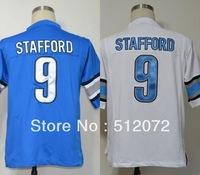 Detroit #9 Matthew Stafford Men's Authentic Game Team Blue/White Football Jersey
