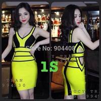 Free Shipping 2015 Fashion Bandage Dress For Party Deep V-Neck Sleeveless H405