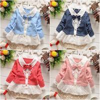 girls shirts plaid 2015 baby shirts lace princess bow children clothes 766-