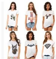 2015 fashion nine style white Printed T shirt women cotton short-sleeved tees Free shipping