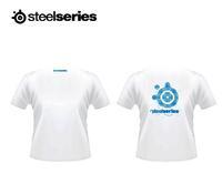 Steelseries T Shirt Men Top Frost Blue Orange Fever V Neck Short Sleeve 95% Cotton Clothing Clothes