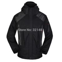 New Brand 2014 Outdoors Casual Hoodies Men Skiing Ski Jacket 3 in 1 Waterproof Man Climbing Camping Hiking Sports Coat