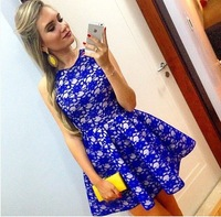 Blue Lace Dress 2015 New Women Lace Dress Sleeveless Cute Casual Dresses Fashion Mini Pleated Vestidos Evening Party Dress LQ614