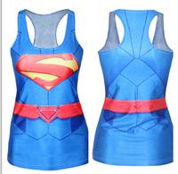Woman tees Summer Sexy close-fitting Sleeveless Sports Tops 3d Printed T shirt Women superman T-shirts