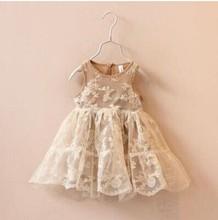 2015 new spring summer Korea style girls flower lace embroidered tutut pricess dress kids girl sleeveless