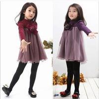 retail 2015 Autumn Winter little girl dress long sleeve Thicken dresses children clothing casual girls dresses  FF893