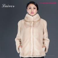2014 luxury mink fur female medium-long stand collar marten overcoat