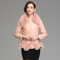 2014 genuine leather sheepskin down coat female slim fox fur short design leather clothing outerwear