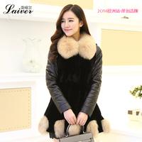 Genuine leather down coat female 2014 genuine leather clothing female fox fur sheepskin outerwear fur one piece