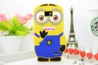 MOQ:20pcs 3D Cute Cartoon Despicable Me Minion Soft Silicone Back Cover Case For Samsung Galaxy S2 SII i9100 Blue minions