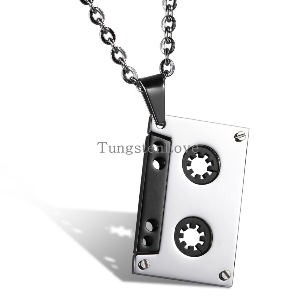 2015 New Fashion Hip Hop Chain Punk Cassette Audio Tape Music Pendant Black Charm Stainless Steel Men's Necklace 55cm Chain(China (Mainland))