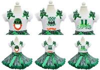 Green Chevron Pettiskirt Plus St. Patricks Day Green Polka Dots Leprechaun Shoes Hat Mustache White Short Sleeves Tee