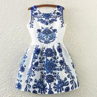 New 2015 Spring Women Fashion European style Print Dress to Party Ladies Casual Prom Dresses Vestidos Femininos