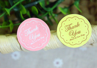 320pcs/lot Pink and Yellow Colors Round Shape Thank You Self-adhesive Stickers Kraft Label Sticker For DIY Hand Made Gift