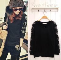 2015 New Arrival Women's Tops snowflake decoration sleeve fleece black pullover MS Lady round collar HOODY fleeces