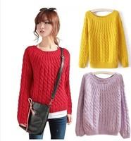 2014 autumn vintage twisted pullover sweater short design women's sweater basic shirt