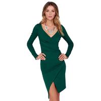 2015 HOT new brand ruffles women dress casual solid color OL V-neck Sexy legs split ends ladies dress J1103