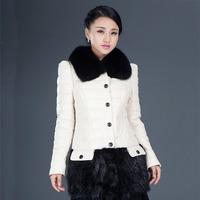 2014 genuine leather female medium-long down coat sheepskin fox fur slim leather clothing outerwear