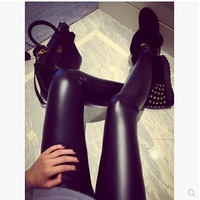 2014 autumn and winter faux leather legging leather trousers pants plus velvet thickening women's