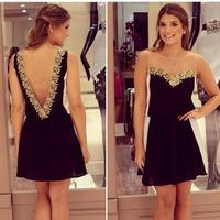 Women's V-neck Backless Dress Gold Flower Lace Black White Patchwork Chiffon Lace Mini Dress Sleeveless 4 Sizes 100
