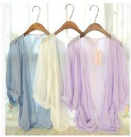 Women Half Lantern Sleeve Chiffon Cardigan Summer Thin Shirt Female Sun Screen Coat Candy Color