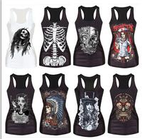 Summer latest design Women Novelty skeleton printed  skull T-shirts,sleeveless tops tees,T shirt Women