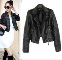 Europe Women Popular Motorcycle Washer PU Leather Jacket Famous Outerwear Coat S-XXL 5 Size Short Paragraph Diagonal Zipper