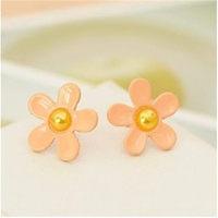 2015 New Fashion Jewelry Hot Sell Korean Style Flower Shaped Cute Female Stud Earrings Crystal Flower Earrings Gifts