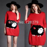 New Arrival 2015 Women's fashion elegant little sheep Three quarter sleeve one-piece dress Puls Szie L XL