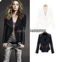 2015 New Fashion Women Brand Jaqueta De Couro Feminina Black Zipper Coat Ladies Slim Crop Faux Spliced Leather Jacket S-XXXL