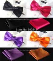 Retail Men Adjustable BowTie Pocket Square Handkerchief Hanky Suit 20Color For Choose Men Accessories Free Shipping 1 pcs