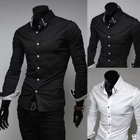 2015 New Dress Fashion Quality Long Sleeve Shirt Men.Korean Slim Design,Formal Casual Male Dress Shirt.Solid Color.