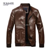 Free shipping jacket men leather jacket Mandarin Collar men's leather motorcycle leather winter jacket men leather jacket men