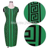 green Geometric A sleeveless dress in good taste party dress sheath women dress free shipping