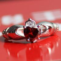 Irish Claddagh Lady's 925 Silver Filled Red Garnet Crystal CZ  Stone Wedding Ring