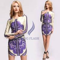 Sexy Women Casual Dresses Long Sleeve O-Neck Purple Patterns Print Dresses Bodycon Short Mini Dress Free Shipping