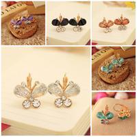 2015 New Fashion Jewelry Hot Sell Korean Style Butterfly Shaped Fashion Female Stud Earrings Crystal Butterfly Earrings Gifts