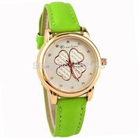 2015 New Fashion Women's Elegant Four Leaf Clover Luxury Brand Leather Strap Watch Dress Watches Casual Wristwatch relogio