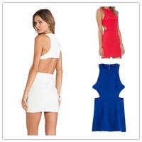 free shipping 2015 summer new sundress sleeveless o neck waist cutout sexy dresses