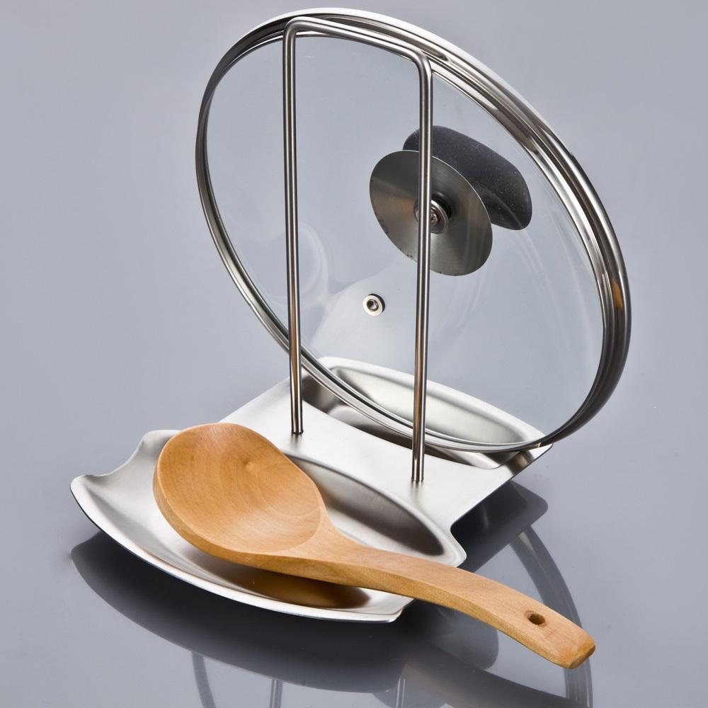 Panela de aço inoxidável Rack pote tampa tampa Rack suporte colher titular projeto original titular cozinha ferramenta(China (Mainland))