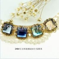 50pcs 20mmmm Barsquare glass Diamante Rhinestone Buckle Invitation Ribbon Slider for Party Wedding Supplies Favor Decoration