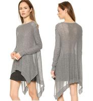 2015 hot new fashion women's sweater round neck long-sleeved sweater asymmetrical hem Loose yards XS-2XL Gray Free Shipping