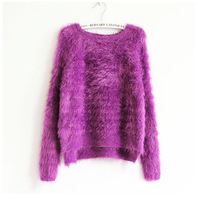 New Come Hot Sale  Women's Fashion Mohair Sweater Solid Soft Sweater Winter &Autumn Loose Good Quality Sweater 1pc/Lot