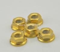 Gold Titanium Gr5 M8 DIN 6923 Pro Flange Nut for Bolt Screw Fastener Washer free shipping