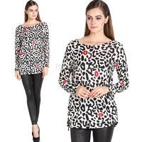 Women's Fashion Stylish Lips Leopard Pattern Loose Long Sleeve Tops Blouse Long Shirt SV010393